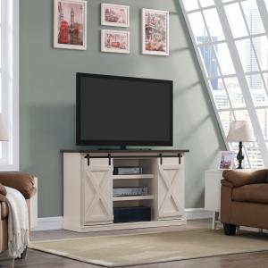 Twin Star Home Terryville Barn Door TV Stand for TVs up to 60″, Old White