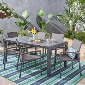 Crew Outdoor 7 Piece Aluminum and Mesh Dining Set with Glass Table Top, Gray, Gray