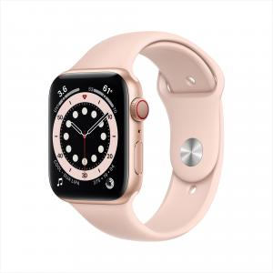 Apple Watch Series 6 GPS + Cellular, 44mm Gold Aluminum Case with Pink Sand Sport Band – Regular