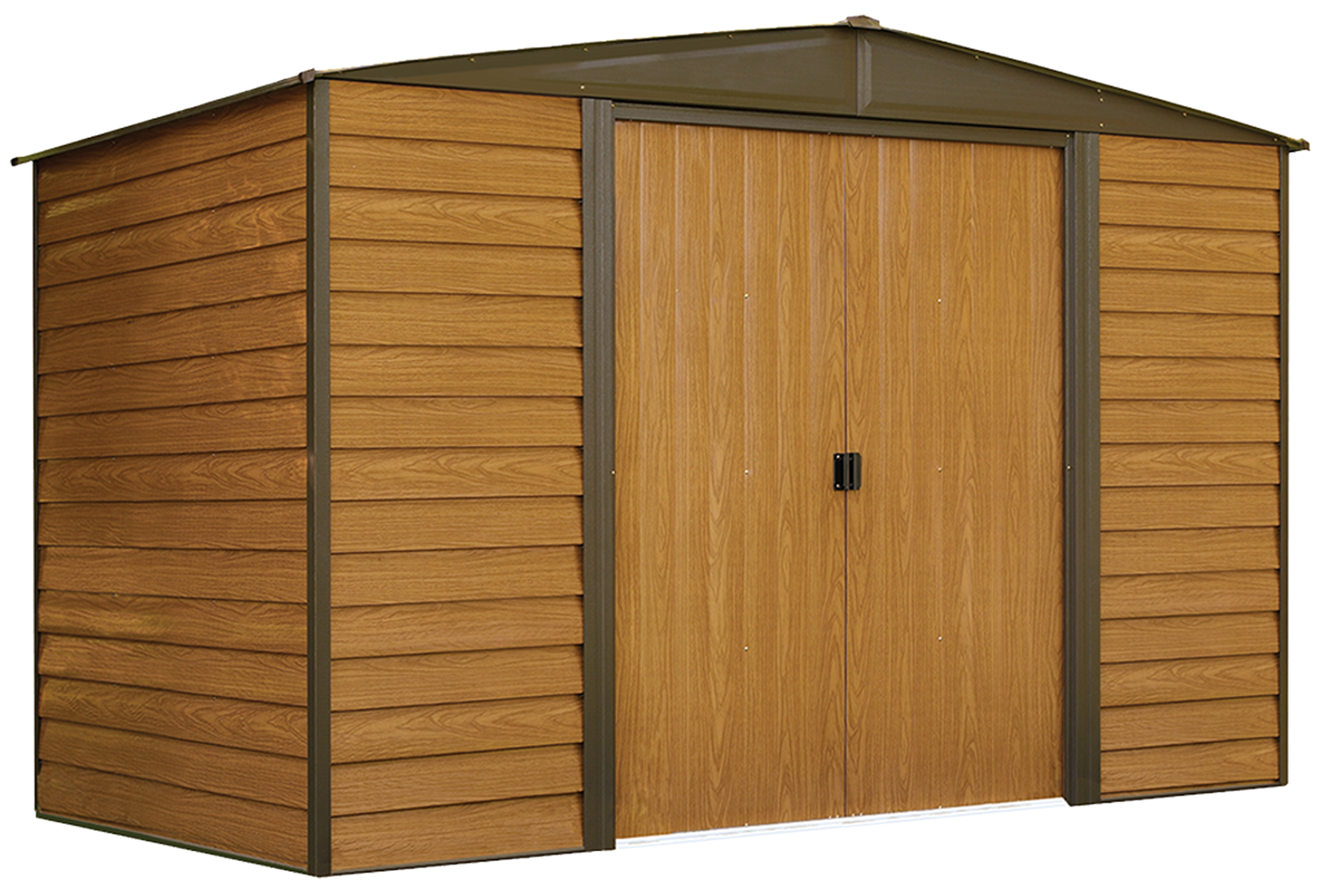 Arrow Woodridge Shed, 10 x 6 ft, Steel Shed with Wood Finish for Outdoor Storage