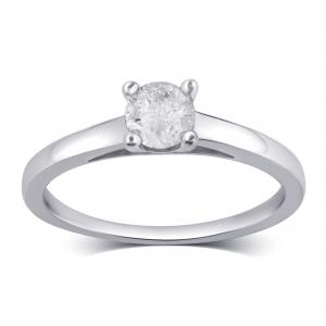 1 1/2 Carat T.W Diamond 10K White Gold Solitaire Engagement Ring.