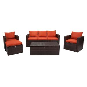Incadozo 5PC All-Weather Wicker Conversation Set with Storage & Ottoman, Dark Brown/Orange