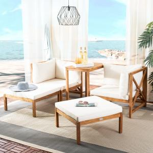 Safavieh Ronson Outdoor Patio 5 Pc Chat Set – Natural/Beige