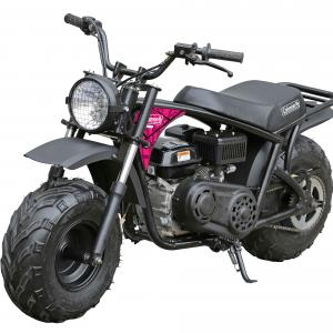 Coleman Powersports 196cc Gas Powered RIde-On Mini Bike -Pink & Red Decals