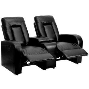 Flash Furniture Eclipse Series 2-Seat Push Button Motorized Reclining Black LeatherSoft Theater Seating Unit with Cup Holders