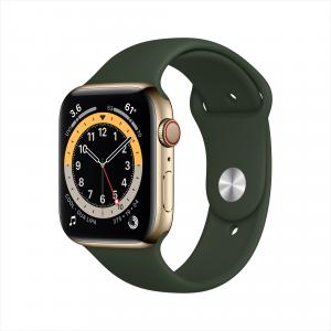 Apple Watch Series 6 GPS + Cellular, 44mm Gold Stainless Steel Case with Cyprus Green Sport Band – Regular