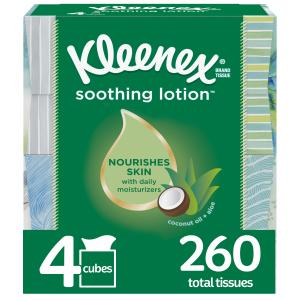 Kleenex Soothing Lotion Facial Tissues with Coconut Oil, Aloe & Vitamin E, 4 Cube Boxes, 65 Tissues Per Box (260 Tissues Total)