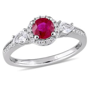 1 Carat T.G.W. Ruby, White Sapphire and 1/8 Carat T.W. Diamond 14kt White Gold Halo Engagement Ring