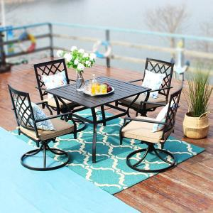 MF Studio Outdoor Patio Furniture 5 piece Dining Set With 37 Inches Larger Dining Table and 4 Swivel Arm Chairs