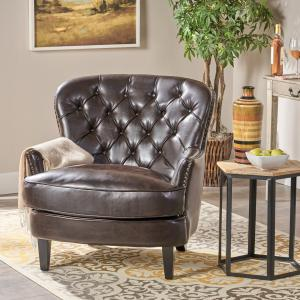 Noble House Taylor Tufted Leather Club Chair, Brown