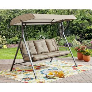 Mainstays Charleston Park 3-Person Porch Swing, Brown