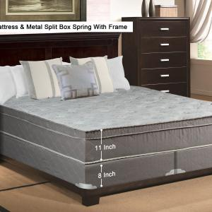 WAYTON, 11″ Meduim Plush Foam Encased Hybrid Eurotop Pillowtop Innerspring Mattress And Split Metal Box Spring/Foundation Set With Frame, No Assembly Required, Good For The Back, King Size 79″ x 78″