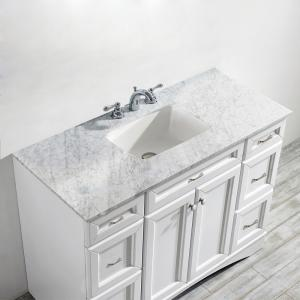 Naples 48″ Vanity in White with Carrara White Marble Countertop without Mirror