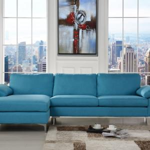 Mobilis Modern Large Linen L-Shape Sectional with Extra Wide Chaise Lounge (Blue)