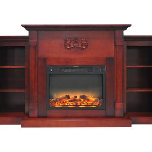 Cambridge Sanoma Electric Fireplace Heater with 72″ Bookshelf Mantel plus Enhanced Log and Grate Display