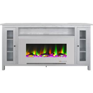 Cambridge Somerset 70-In. White Electric Fireplace TV Stand with Multi-Color LED Flames, Driftwood Log Display, and Remote Control