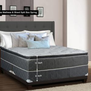 WAYTON, 13-Inch Meduim Plush Foam Encased Hybrid Pillowtop Innerspring Mattress And Split Wood Traditional Box Spring/Foundation Set, No Assembly Required, Good For The Back, Twin Size 74″ x 38″