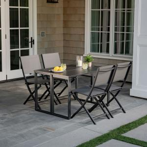 Hanover Conrad 5-Piece Compact Outdoor Dining Set with 4 Folding Sling Chairs and Convertible Slatted Table, Gray