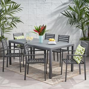 Ian Outdoor Modern 6 Seater Aluminum Dining Set with Tempered Glass Table Top, Gun Metal Gray