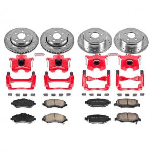 Power Stop Front and Rear Z23 Evolution Brake Pad and Rotor Kit with Red Powder Coated Calipers KC2832A