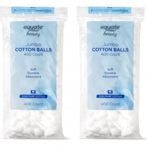 (2 Pack) Equate Beauty Jumbo Cotton Balls, 400 Count