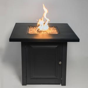 28″ Matte Black Propane Fire Pit Table with Free Arctic Ice Glass, Lid, and Cover