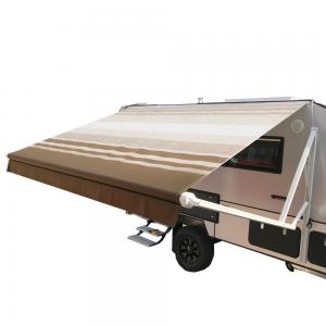 ALEKO 20'x8′ Motorized Retractable RV/Patio Awning, Brown Striped Color