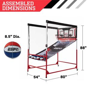 ESPN 2-Player Roar Cage Arcade Basketball Game, LED Scoring System, Black/Red, Best Shot
