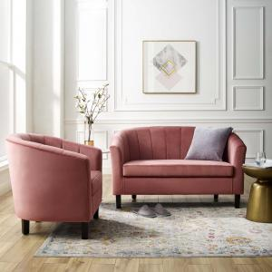 Prospect Channel Tufted Performance Velvet Loveseat and Armchair Set in Dusty Rose
