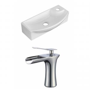 17.75-in. W Wall Mount White Vessel Set For 1 Hole Right Faucet – Faucet Included