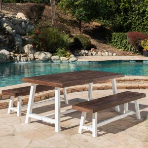 Kamden Outdoor Modern Industrial 3 Piece Acacia Wood Picnic Dining Set with Benches, Sandblasted Dark Brown and White Rustic Metal
