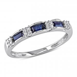 1/2 Carat T.G.W. Baguette-Cut Sapphire and Diamond-Accent 10kt White Gold Semi-Eternity Ring