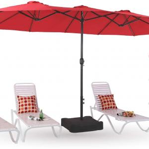 MF Studio 15ft Outdoor Patio Table Umbrella with Stand, Extra Large Rectangular Double Sided Market Umbrella with Crank Handle, Base Included (Red)