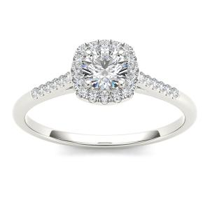 1/2 Carat T.W. Diamond Single Halo 10kt White Gold Engagement Ring