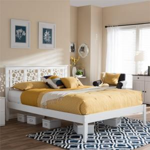 Baxton Studio Celine Modern and Contemporary Geometric Pattern White Solid Wood Platform Bed, Multiple Sizes