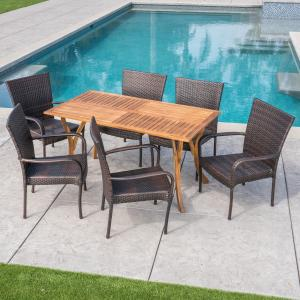 Sonoma Outdoor 7 Piece Acacia Wood and Wicker Dining Set, Teak, Multibrown
