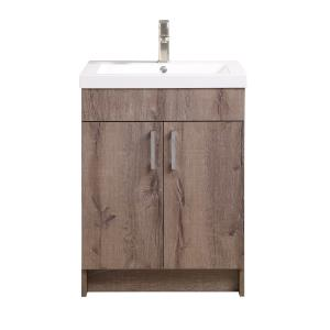 Mainstays Farmhouse 24.4 Inch Rustic Gray Single Sink Bathroom Vanity with Top, Assembly Required