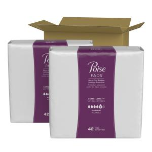 Poise Incontinence Pads for Women, Maximum Absorbency, Long, 84 Count (2 Packs of 42)