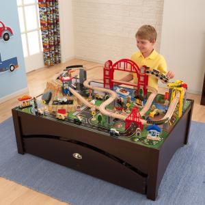 KidKraft Metropolis Wooden Train Set & Table with 100 Accessories Included