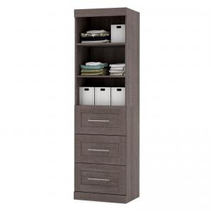 Generic Pur by Bestar 25″ storage unit with 3-drawer set in Bark Gray