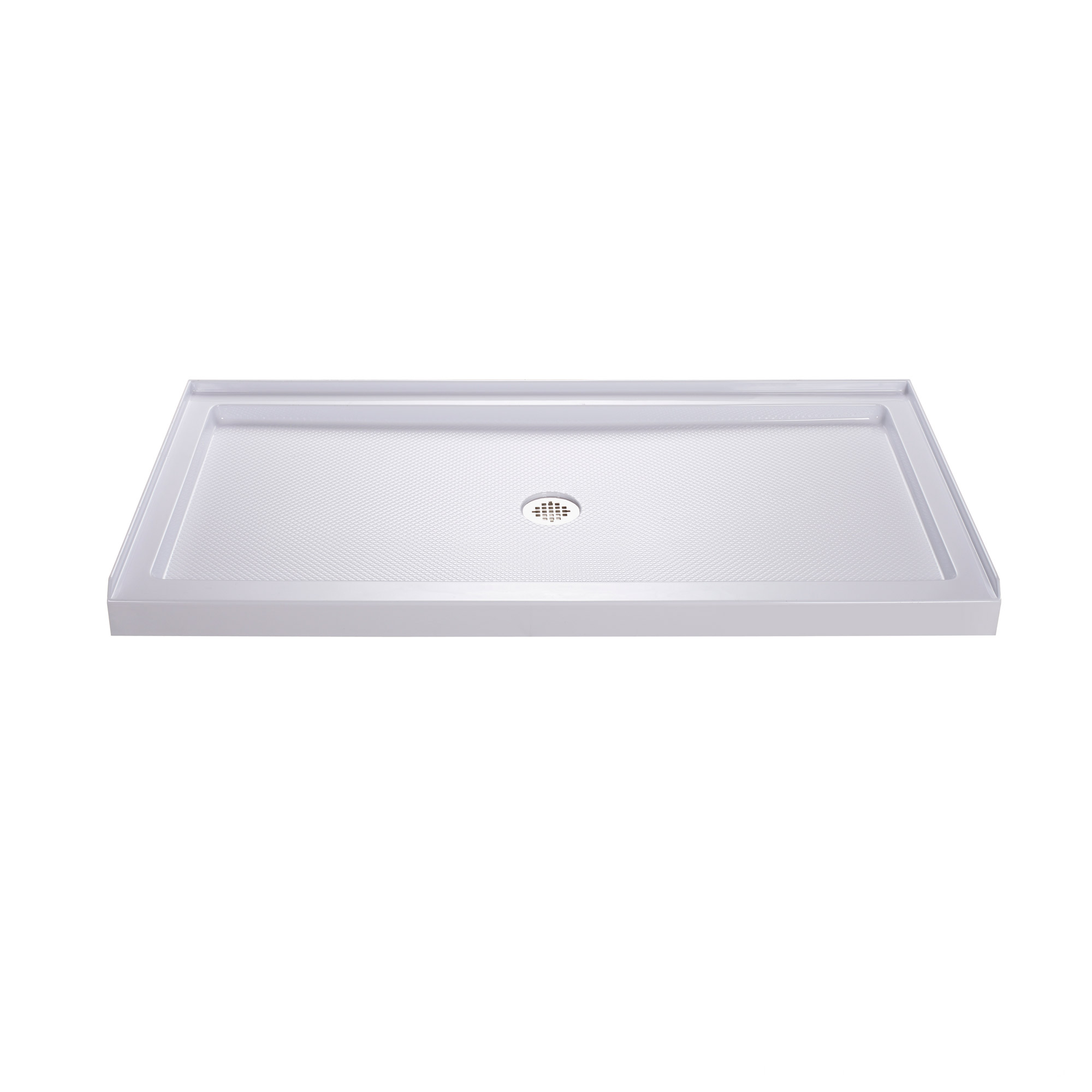 DreamLine 30 in. D x 60 in. W x 75 5/8 in. H Center Drain Acrylic Shower Base and QWALL-3 Backwall Kit In White