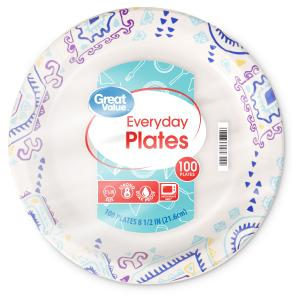 Great Value Everyday Paper Lunch Plates, 8 5/8″, 100 Count