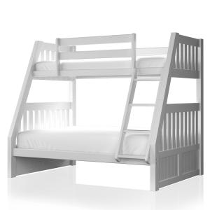 Furniture of America Nahla Cottage Wood Bunk Bed, Twin/Full, White