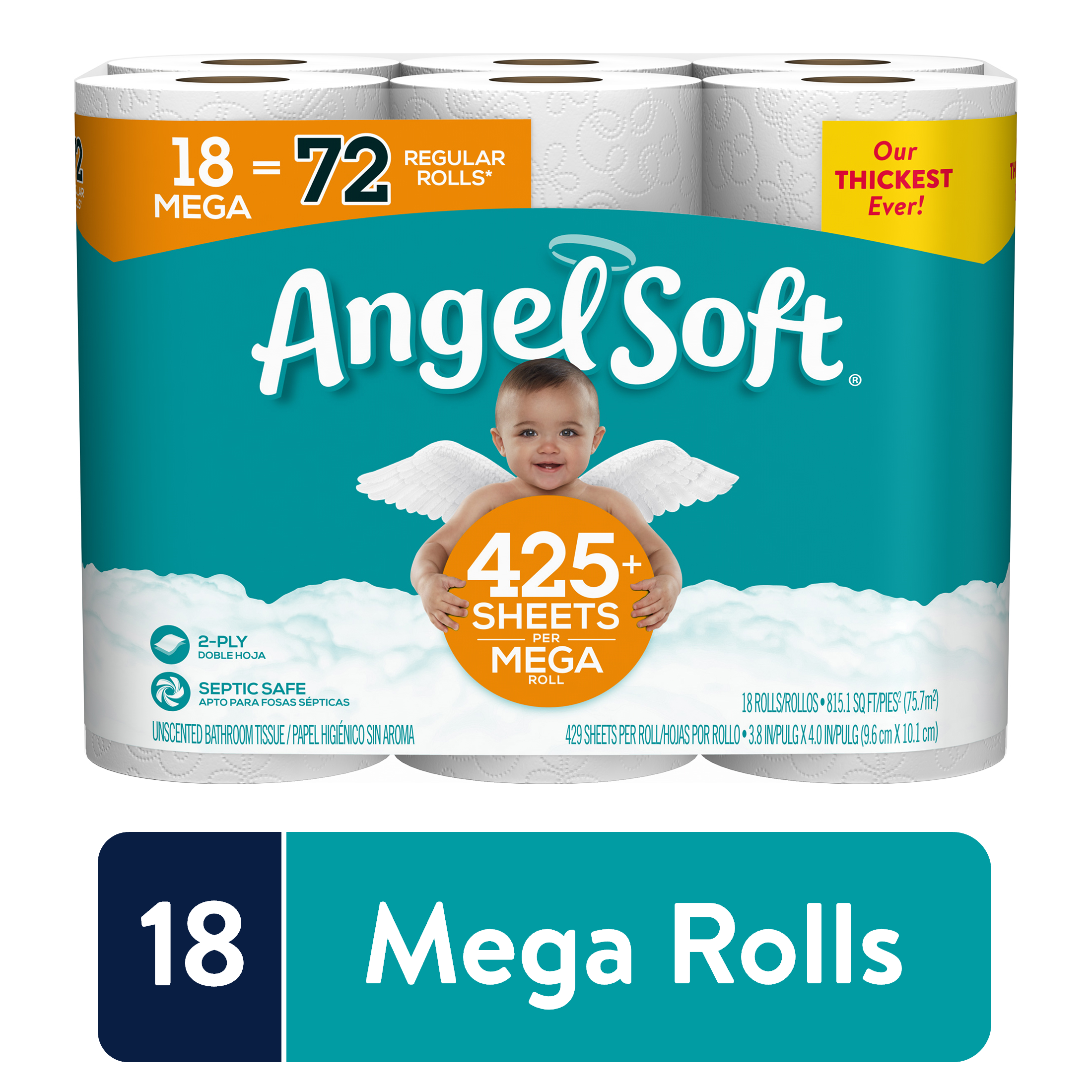 Angel Soft Toilet Paper, 18 Mega Rolls (= 72 Regular Rolls)