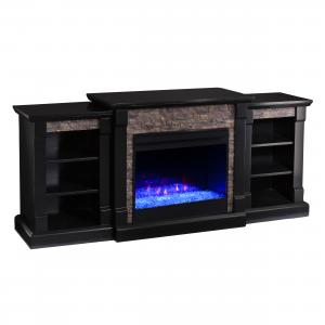 Grand Heights Color Changing Bookcase Fireplace in Satin Black