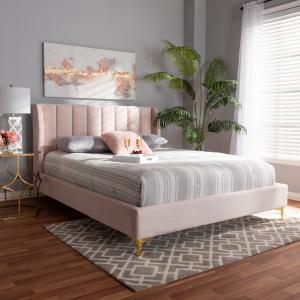 Baxton Studio Saverio Glam and Luxe Light Pink Velvet Fabric Upholstered Queen Size Platform Bed with Gold-Tone Legs
