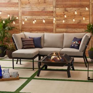 Mainstays Greyson Square 4-Piece Outdoor Patio Sectional, Tan Cushions and Patio Cover