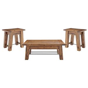 Durango Industrial Wood 48″L Coffee Table and Two End Tables, Set of 3