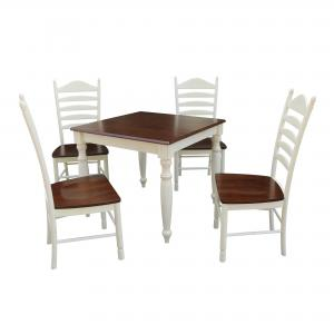 36×36 Dining Table with 4 Ladderback Chairs – Alabaster/Espresso- 5 Piece Set