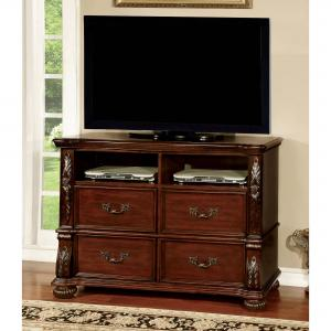Furniture of America Hamlin Traditional 4-Drawer Media Chest, Brown Cherry